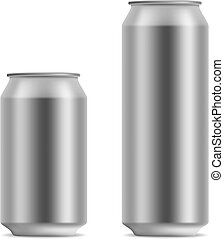 Blank beer can in 2 variants 330 and 500 ml isolated on...