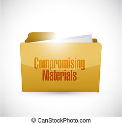 Compromising materials folder sign illustration design...