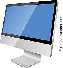Modern LCD monitor - New modern blank monitor isolated on...