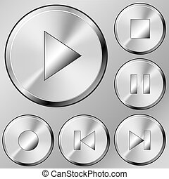 Media buttons vector set in brushed steel style.