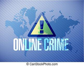 online crime warning map sign concept