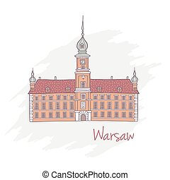 Handdrawn Royal Castle in Warsaw Poland - Vector...