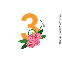 Number three with floral vector