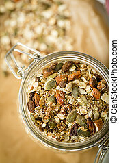 Home Made Musli - Home made musli in a jar of glass