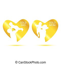gold dad and mom in heart vector