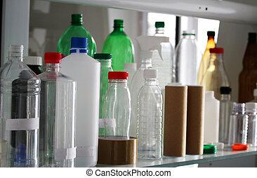 Group of plastic PET bottles for beverage