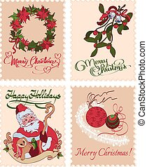 Vintage Christmas Stamps Mistletoe Wreath Greetings Seamless...