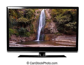 tv with waterfalls - tv with the waterfalls on white