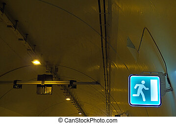 Tunnel - Highway Tunnel with light and signs