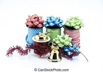 gruppo, isolato, oggetti, fondo, bianco, Natale