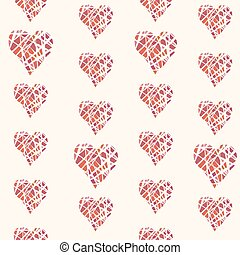 Vector seamless pattern with hand drawn red hearts