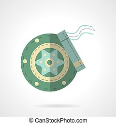 Green disc brakes flat vector icon - Green wheel disc with...