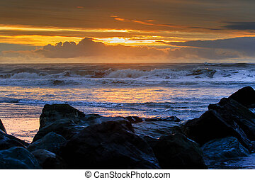 sunset sea beach hokitika west coast south island new...