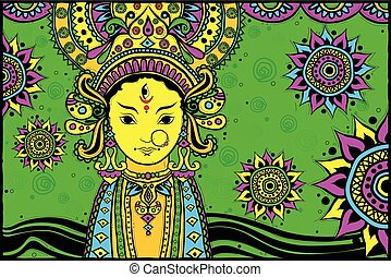 Goddess Durga for Happy Dussehra - easy to edit vector...