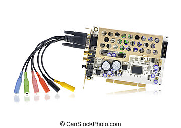 PCI sound card isolated on white