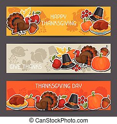 Happy Thanksgiving Day banners design with holiday sticker...