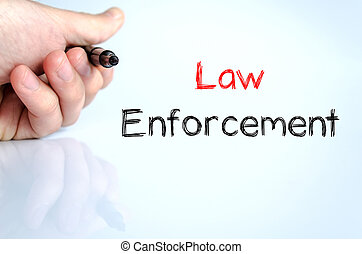 Law enforcement text concept isolated over white background