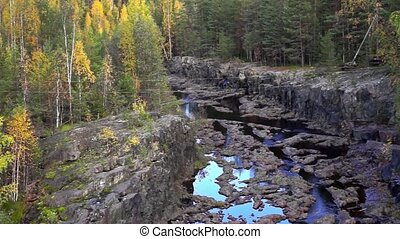 Panorama of forest canyon of river - Stream of the river...