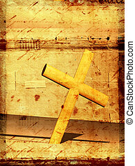 Holy cross with old yellow paper