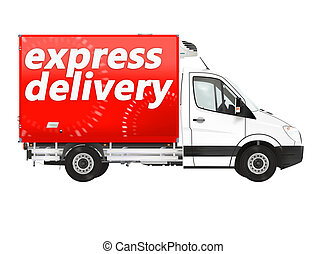 Express delivery. Van on the white background. Raster...