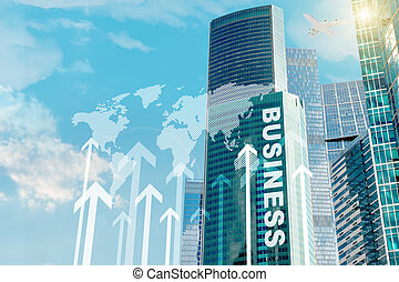 Business center with words and arrows on blue sky background