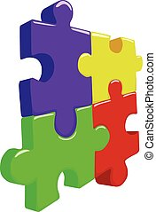 Color 3D puzzle pieces vector illustration