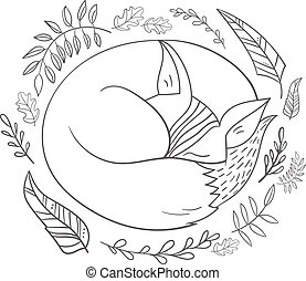 Sleeping fox grey line vector illustration