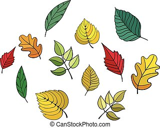 Different leaves vector illustration
