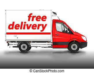 Free delivery. Van on the white background. Raster...