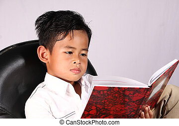 Boy Reading Book - Smart Asian boy reading book while...