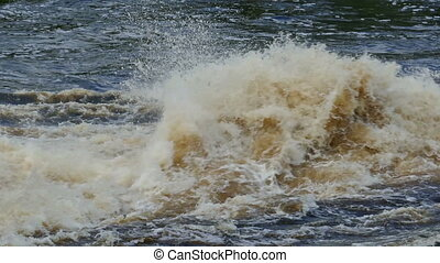 bursts and splashes of a seething water