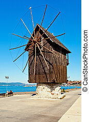 Windmill in Nesebar, Bulgaria - Historical windmill in Old...