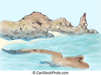 galapagos island abstract drawing of part of land