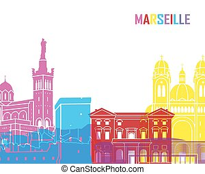Marseille skyline pop - skyline pop in editable vector file