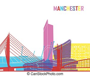 Manchester skyline pop - skyline pop in editable vector file
