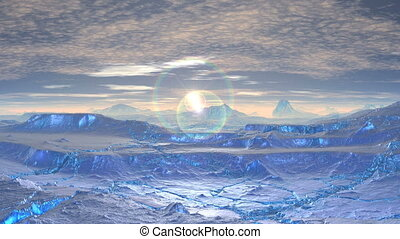 Sunrise and glare on the icy desert - Ice desert hills...