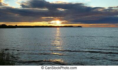 Sunset on Lake Onega, Karelia, zoom in