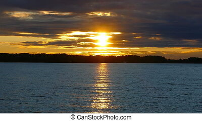 Sunset on Lake Onega, Karelia, zoom in