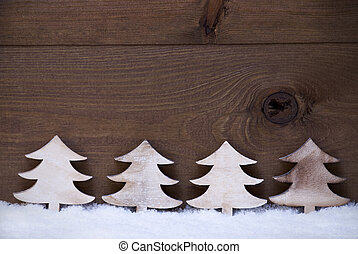Four Wooden Christmas Trees On Snow, Copy Space, Advent -...