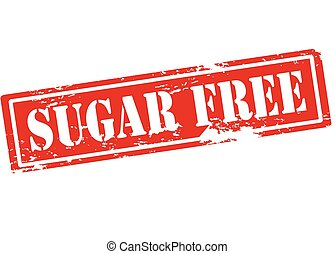 Sugar free - Rubber stamp with text sugar free inside,...