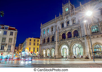 Lisbon Rossio train station at night - Rossio Station in...