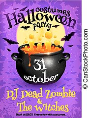 Bright purple Halloween party poster template with orange...