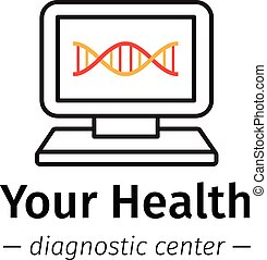 Vector trendy line style medical center logo Diagnostic...