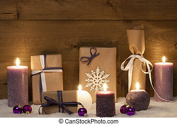 Purple Christmas Gifts With Candles And Balls, Snow -...