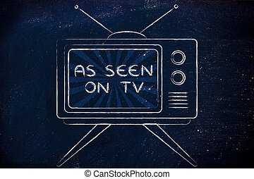 As seen on tv, tv screen with emphatic ads - concept of tv...
