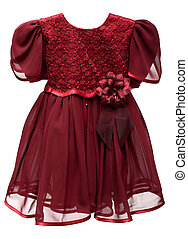 Natty crimson baby gown on white background