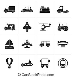 transportation icons - Black Different kind of...