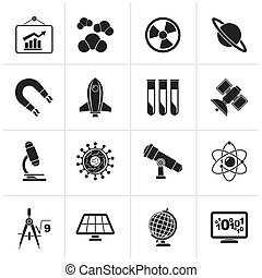 esearch and education Icons - Black science, research and...