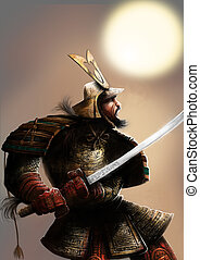 The samurai and the sun - a very armored samurai with a...