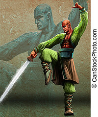 The Kung sword master - a bald youg master with a kung fu...